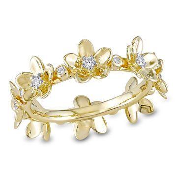 Miadora 14k Yellow Gold 1/4ct TDW Diamond Multi-Flower Eternity-Band