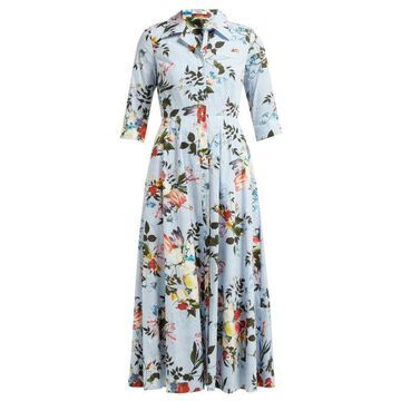 Erdem - Kasia Isabelle Print Cotton Poplin Dress - Womens - Blue Print