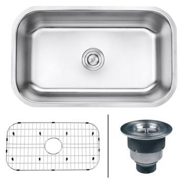 Ruvati 30-inch Undermount 16 Gauge Stainless Steel Kitchen Sink Single Bowl -...