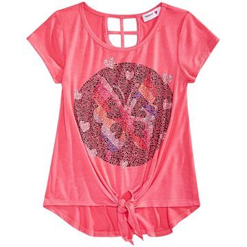 Big Girls Butterfly Tie-Front Top