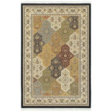 Style Haven Intricate Medallion Panels Navy/ Multicolor Fringed Area Rug (9'10 x 12'10) - 9'10