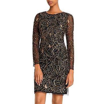 Aidan Mattox Embellished Floral Metallic Cocktail Dress - 100% Exclusive