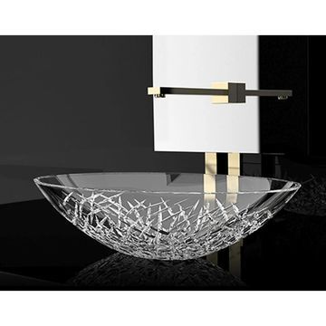 WS Bath Collections Crystal OV Crystal Vessel Bathroom Sink - Clear