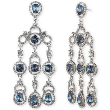 Givenchy Silver-Tone Stone & Crystal Chandelier Drop Earrings