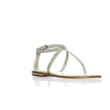 Isola Womens Mackenzie White/Tan T-Strap Sandals Size 8