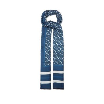 Burberry - Bi-colour Tb-print Silk-twill Scarf - Womens - Blue Multi