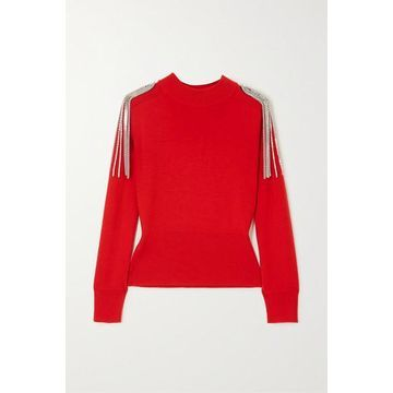 Christopher Kane - Cropped Chain-embellished Merino Wool Sweater - Red