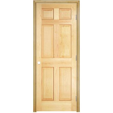 Masonite Traditional 32-in x 78-in (Unfinished) 6-Panel Solid Core Unfinished Pine Wood Left Hand Inswing/Outswing Single Prehung Interior Door