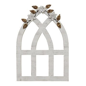 Stratton Home Decor White Arch with Metal Flowers Wall Decor
