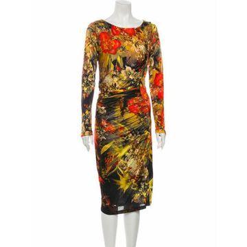 Floral Print Midi Length Dress w/ Tags Orange