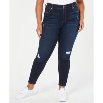 Trendy Plus Size Celebrity Pink High Rise Ripped Skinny Jean