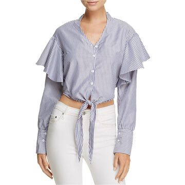 MinkPink Womens Tie-Front Button Down Blouse