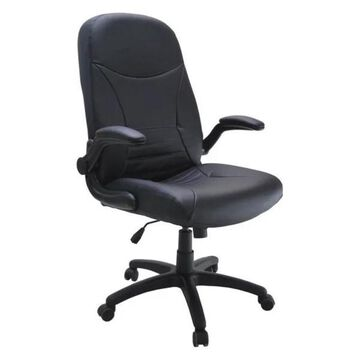 Mayline Comfort Big and Tall Pivot Arm Office Chair in Black Leather