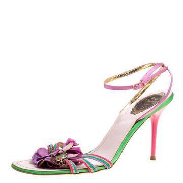 Rene Caovilla Multicolor Satin Crystal Flower Embellished Ankle Strap Sandals Size 41