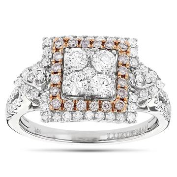 Luxurman 14k Two-tone Gold 1 2/5ct TDW Pink Diamond Cluster Ring
