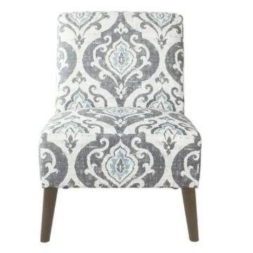HomePop Modern Armless Dining Accent Chair (Blue Medallion Print)