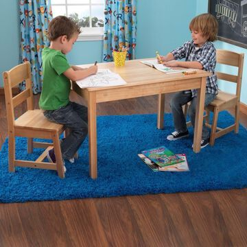 KidKraft Natural Rectangular Kid's Play Table (Set of 2 Chairs) in Brown | 26681
