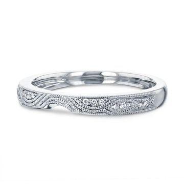 Annello by Kobelli 14k White Gold 5pts Diamond Milgrain Curved Notch Matching Wedding Band - Annello 62261 Series