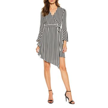 Striped Tie-Front Wrap Dress