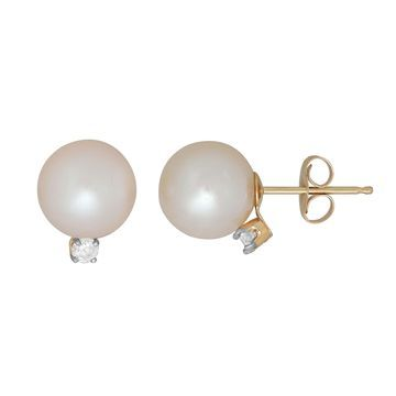 Sofia Sofia 1/10 CT. T.W. Genuine White Cultured Freshwater Pearl 14K Gold 10.2mm Stud Earrings
