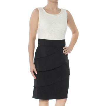 CONNECTED APPAREL Womens Black Tiered Knee Length Sheath Wear To Work Skirt Size: 6