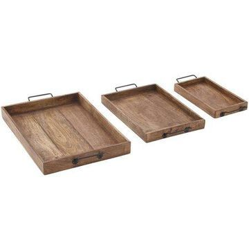 Decmode Wood and Metal Tray, Set of 3, Multi Color