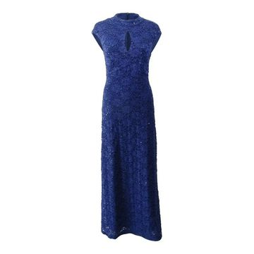 Connected Apparel Women's Dress Blue Size 8 Sheath Lace Sequined