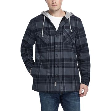 Men's Plaid Sherpa-Lined Shirt Jacket with Hood