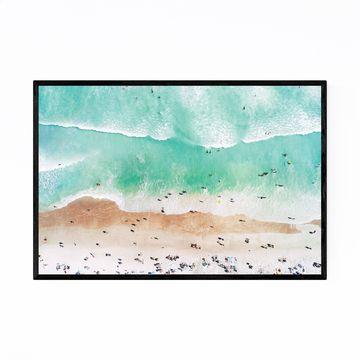 Noir Gallery Aerial Beach Waves Photography Framed Art Print