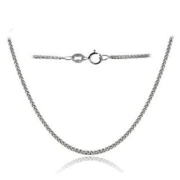 Mondevio 14k White Gold .8mm Spiga Wheat Italian Chain Necklace, 24 Inches (White)