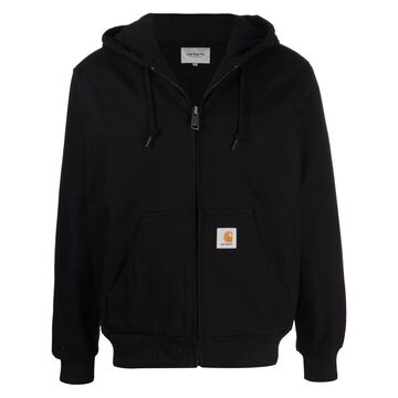 logo patch hooded jacket