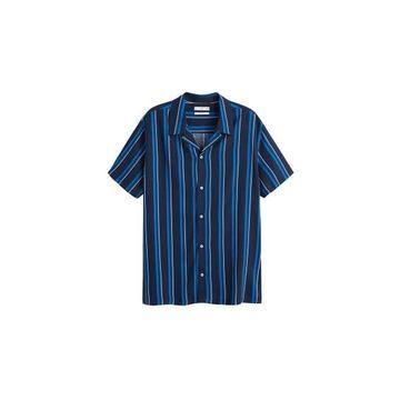 MANGO MAN - Striped flowy shirt dark navy - M - Men