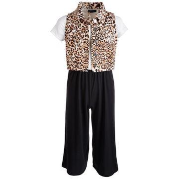 Big Girls 2-Pc. Animal-Print Vest & Jumpsuit Set