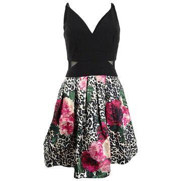 Xscape Women's Mixed-Print Fit & Flare Dress (6, Black Multi)