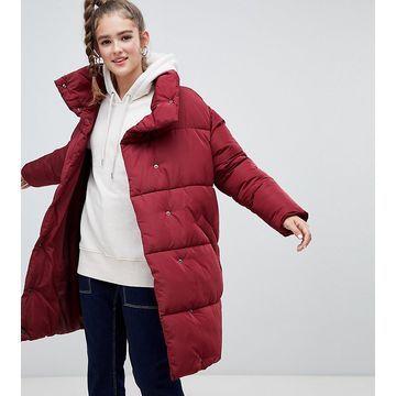 Monki longline puffer jacket-Red