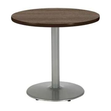 "KFI Mode Round Top Multipurpose Table, Silver Base, Standard Height (36"" round top - studio teak)"