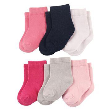 Luvable Friends Girls' Socks Girl - Pink & Black 6-Pair Socks Set - Infant
