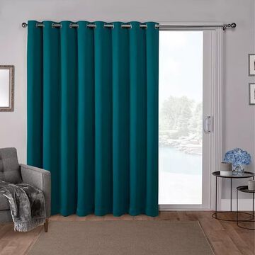 Exclusive Home 1-Panel Double Wide Sateen Patio Woven Blackout Window Curtain, Green, 100X84