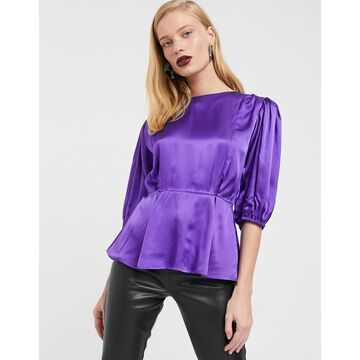 ASOS WHITE satin puff sleeve top-Purple