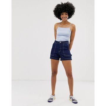 Monki contrast stitch denim shorts in blue