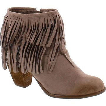 Not Rated Women's Auriga Ankle Fringe Bootie,Taupe,8