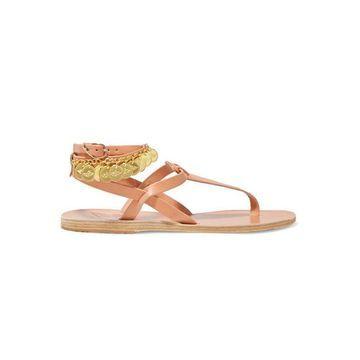 Ancient Greek Sandals - Estia Flouria Embellished Leather Sandals - Beige