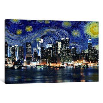 iCanvas New York Starry Night Skyline by iCanvas Canvas Print