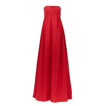 Rochas - Strapless Faille Gown - Womens - Red