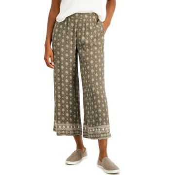 Style & Co Petite Etched-Border Wide-Leg Pants, Created for Macy's