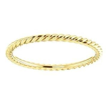 Auriya Petite Ultra-Thin Twisted Rope Stackable 10k Gold Ring (Yellow - 9)