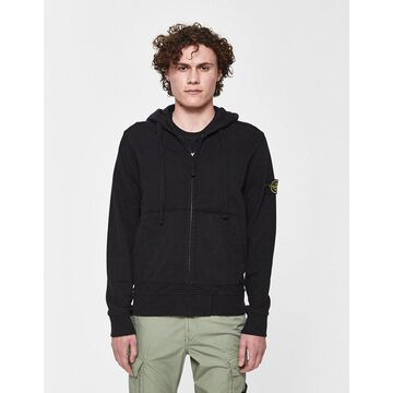 Garment Dyed Logo Patch Hoodie in Black