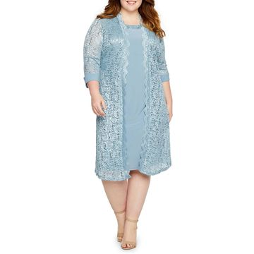 R & M Richards 3/4 Sleeve Lace Jacket Dress-Plus