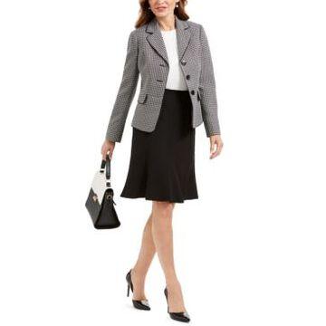 Le Suit Petite Three-Button Tweed Skirt Suit
