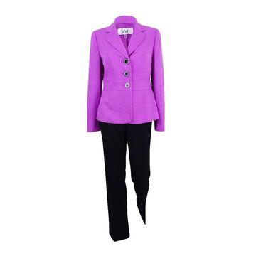 Le Suit Women's Colorblocked Twill Three-Button Pantsuit